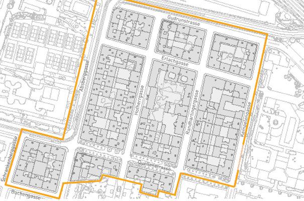 Das Blocksanierungsgebiet liegt im 10.Bezirk in der Nähe des neuen Zentralbahhofs.